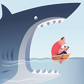 vector illustration of big shark going to eat businessman who is rowing a small boat…
