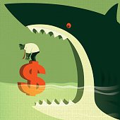 vector character of big shark attacking businessman who standing on floating money sign…