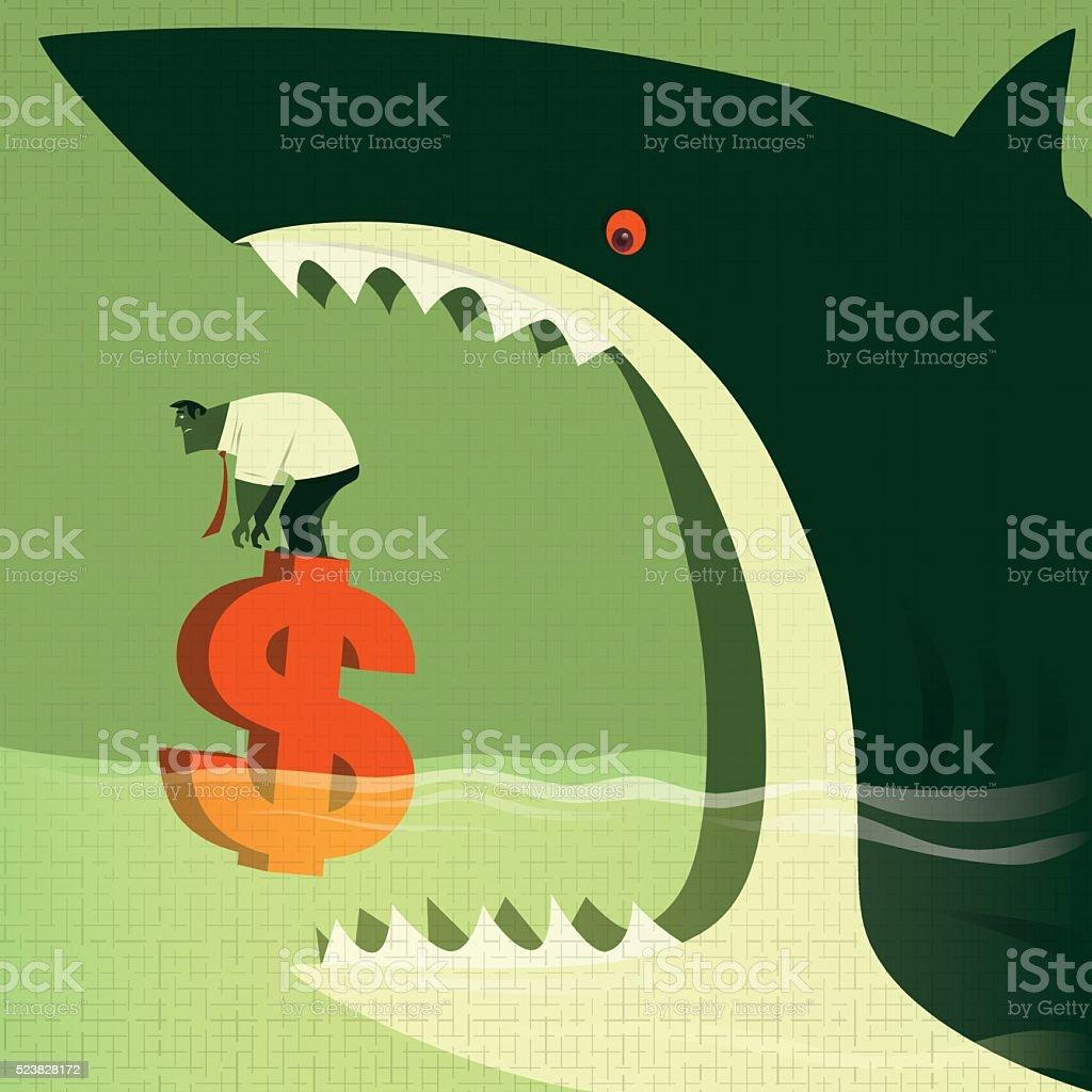 big shark attacking vector art illustration