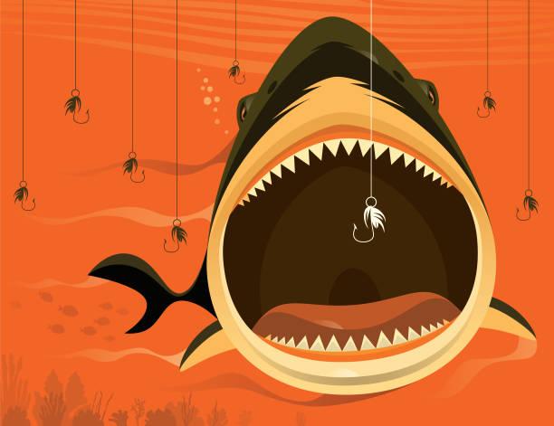 großer hai mit angelhaken - maul stock-grafiken, -clipart, -cartoons und -symbole