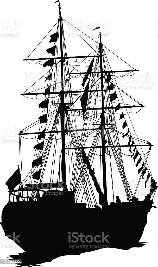 Silhouette of sailing ship on white background