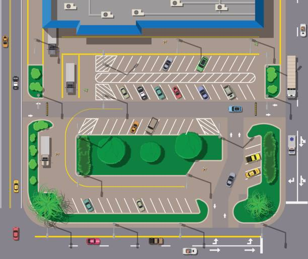 Big shopping center or mall and parking for cars. Big shopping center or mall and parking for cars. City parking lot with different cars. Tree area. Parking zone top view with various vehicles. City life. Vector illustration in flat style overhead stock illustrations