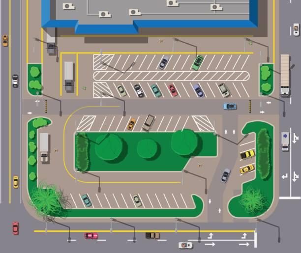 ilustraciones, imágenes clip art, dibujos animados e iconos de stock de gran centro comercial o centro comercial y aparcamiento para coches. - overhead