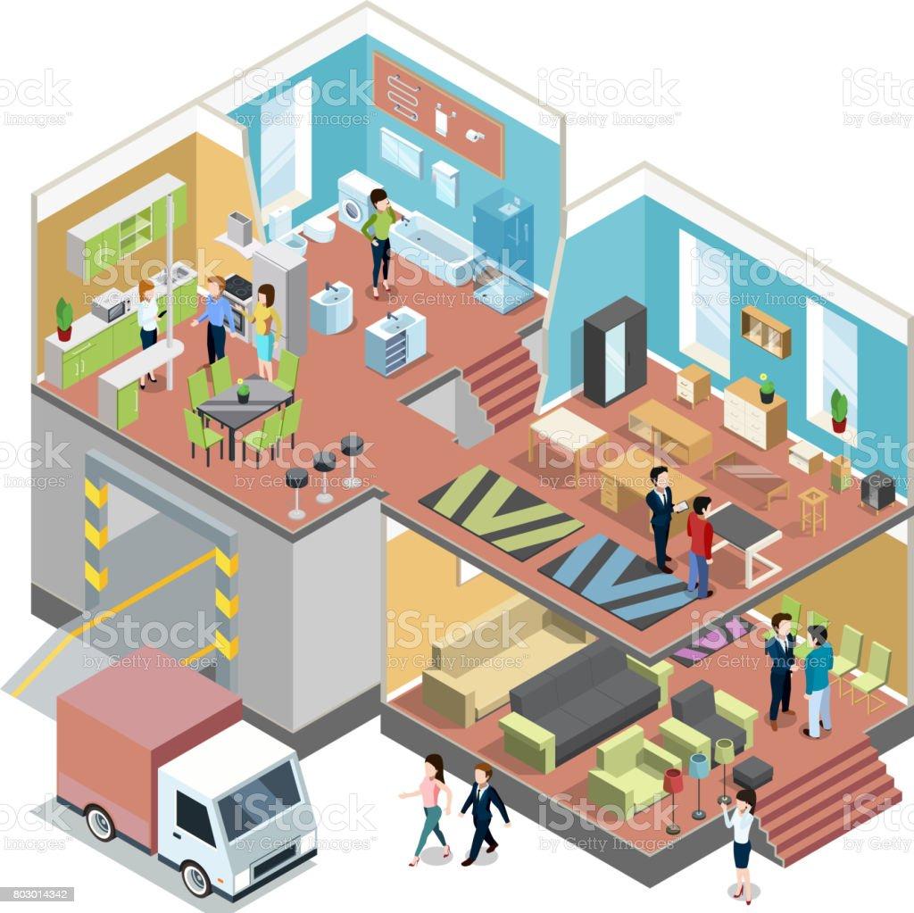 Ilustración de Gran Centro Comercial Con El Interior De La Tienda De ...