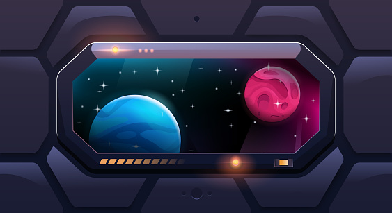 Big shuttle window on spaceship with view of other planets. Futuristic viewport. Vector cartoon style.
