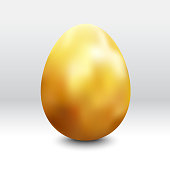 Gold painted egg with beautiful original golden gradient. Photorealistic 3D space with gentle light and soft shadows.  Zoom to see the details. Vector file.