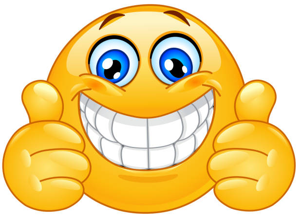 big smile emoticon with thumbs up - toothy smile stock illustrations