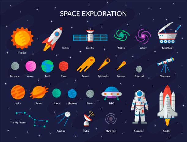 큰 공간 평면 세트 - 우주 stock illustrations