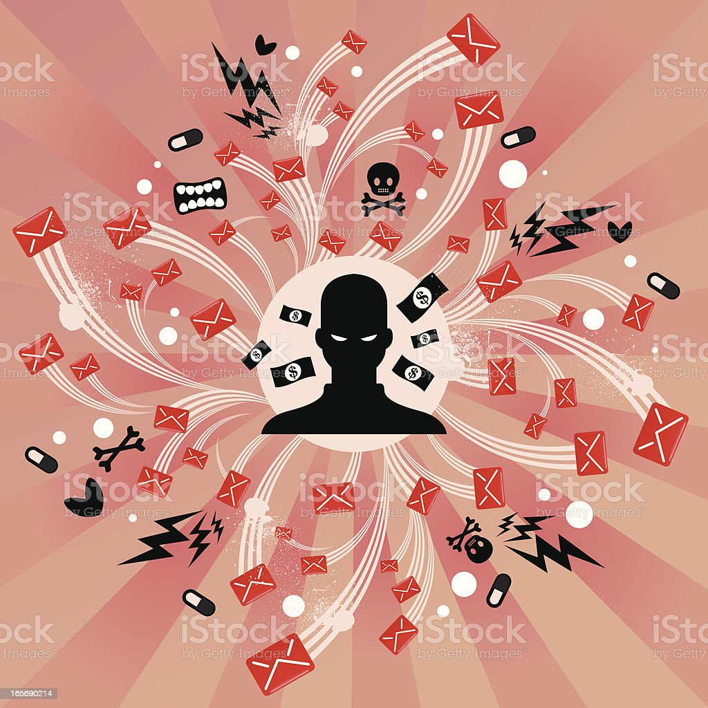 Big Spam through email vector art illustration