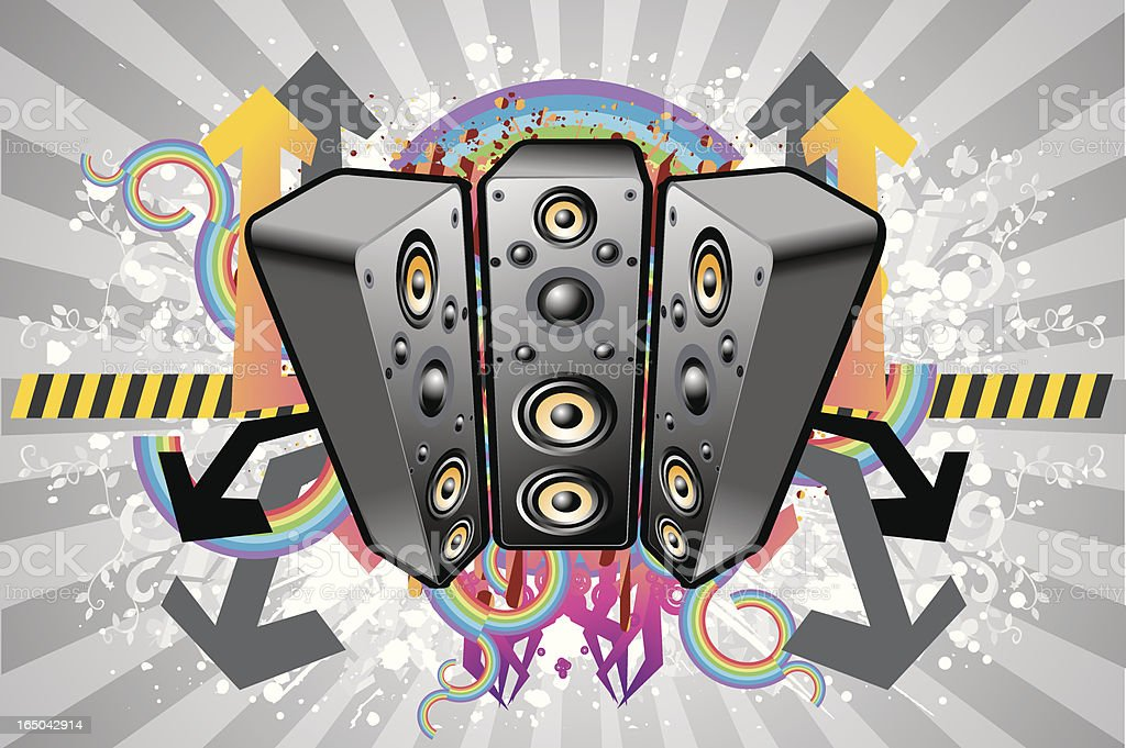 Big Speaker set vector art illustration
