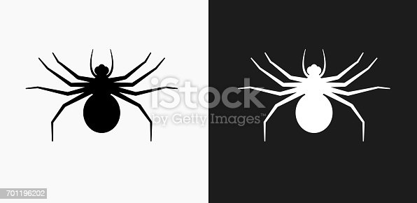 istock Big Spider Icon on Black and White Vector Backgrounds 701196202
