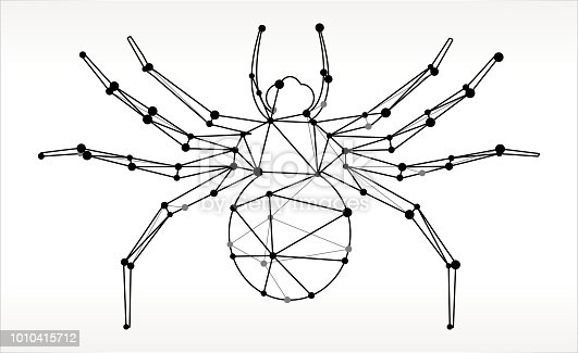 Big Spider Triangle Node Black and White Pattern. The main object depicted in this royalty free vector illustration is created with the triangular line pattern. The individual lines form nodes with small circles on each of the vertices. The background is white with a slight gradient around the edges.