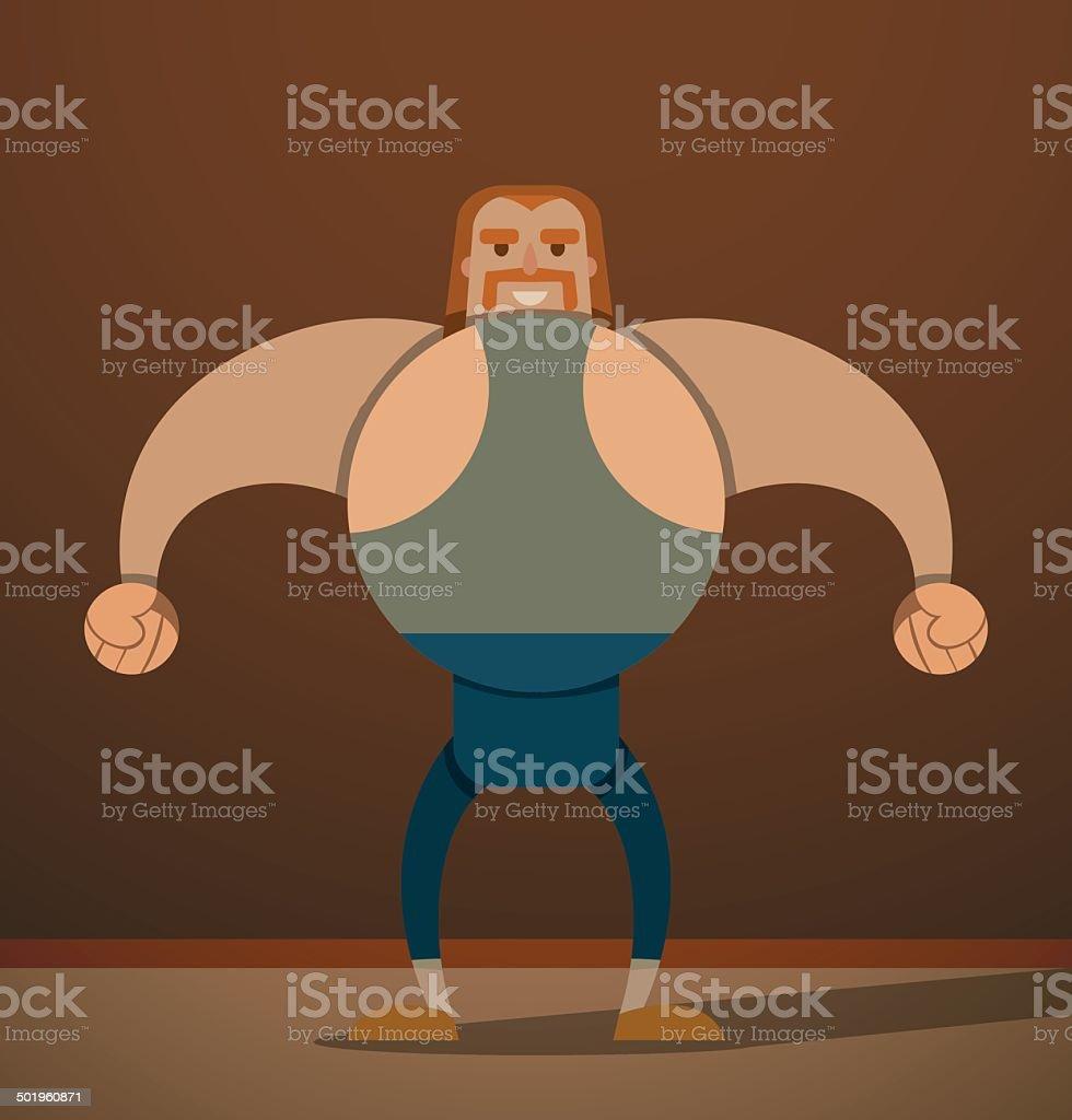 Big sportsman in blue vector art illustration