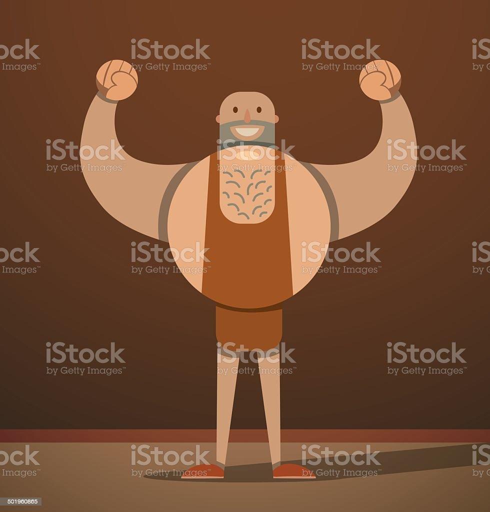 Big sportsman in brown vector art illustration