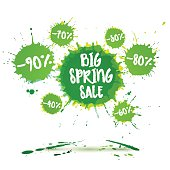 Big spring sale poster and spring sale banner. Vector watercolor banner with ink splashes. Sale badge. Vector illustration. Special offer and Big spring clearance offer.