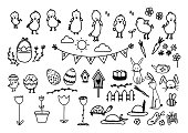 Big spring set Happy Easter. Vector hand drawn illustrations. Outline doodle elements isolated on white background for design holiday postcard,invitations, book, t shirt, print on gifts. Cute animals.