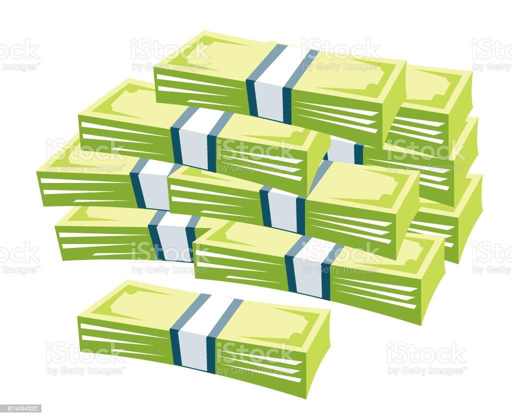 Big stacked cash pile. Hundreds of dollars vector art illustration