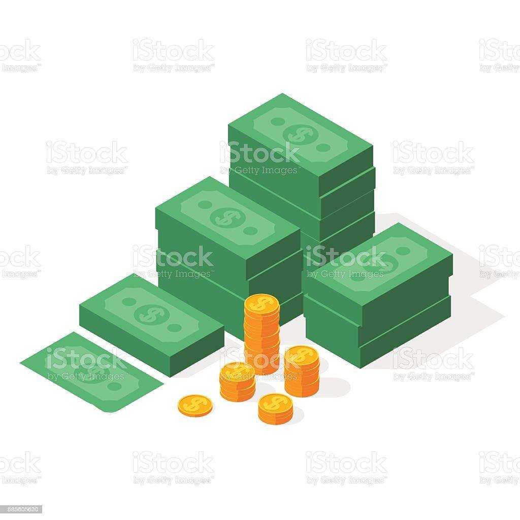 Big stacked dollar pile of cash vector art illustration