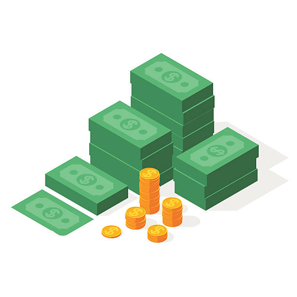 Big stacked dollar pile of cash vector art illustration