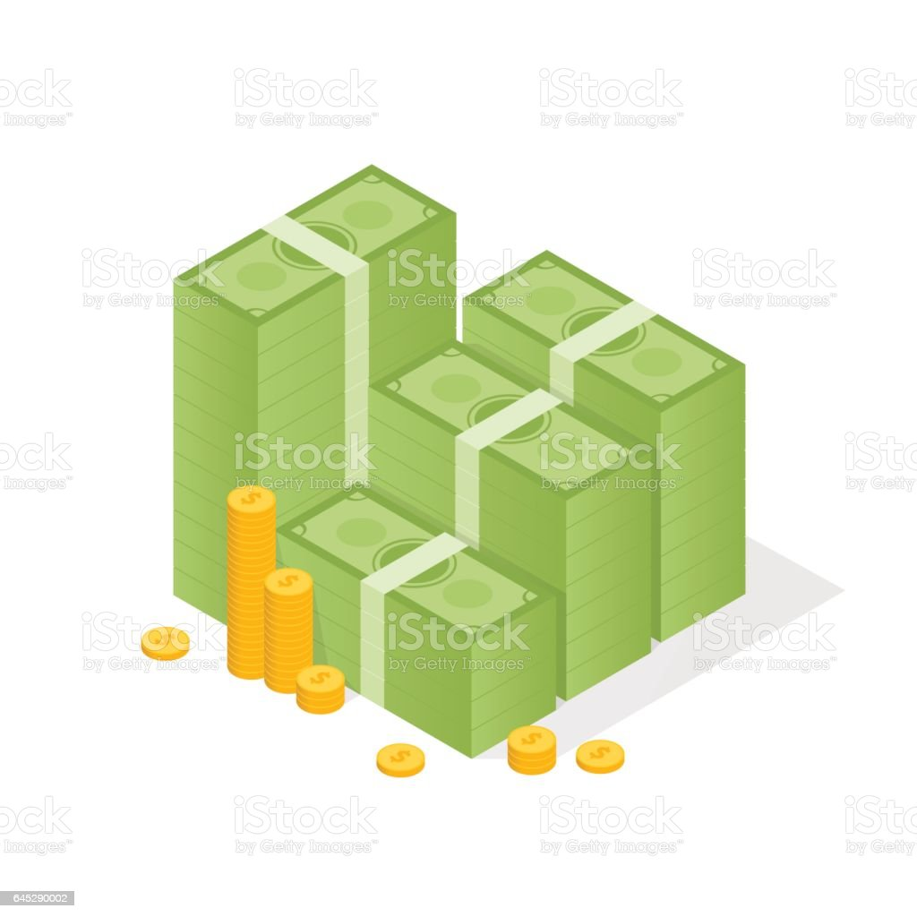 Big stacked pile of cash and some gold coins. Flat style vector art illustration