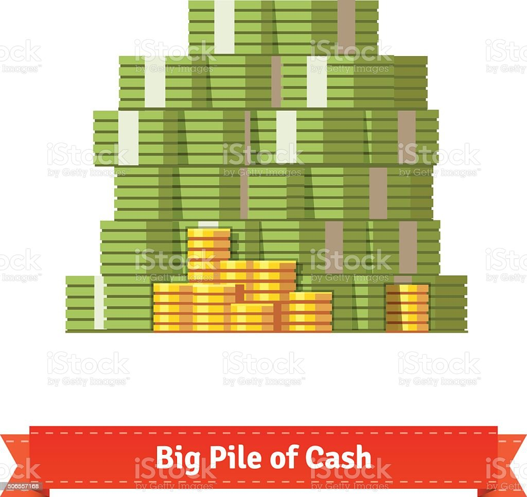 Big stacked pile of cash and some gold coins vector art illustration