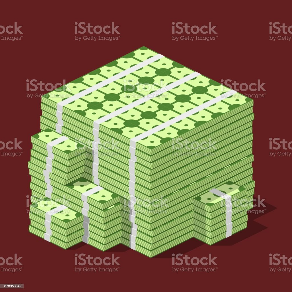 Big stacked pile of cash. Hundreds of dollars in flat style isometric. Huge stacked pile of hundred us dollar cash. Big money concept vector art illustration