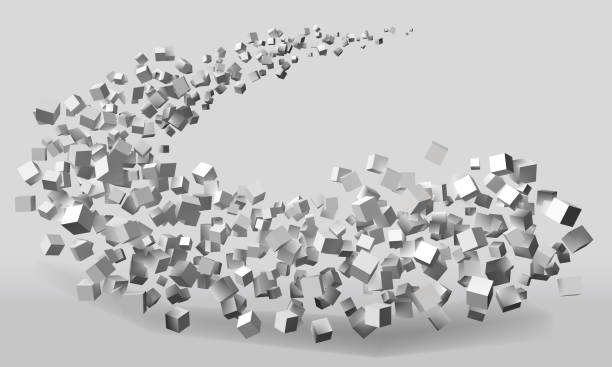big stroke motion formed by random sized cubes big stroke motion formed by random sized cubes. suitable for technology and abstract themes swarm of insects stock illustrations