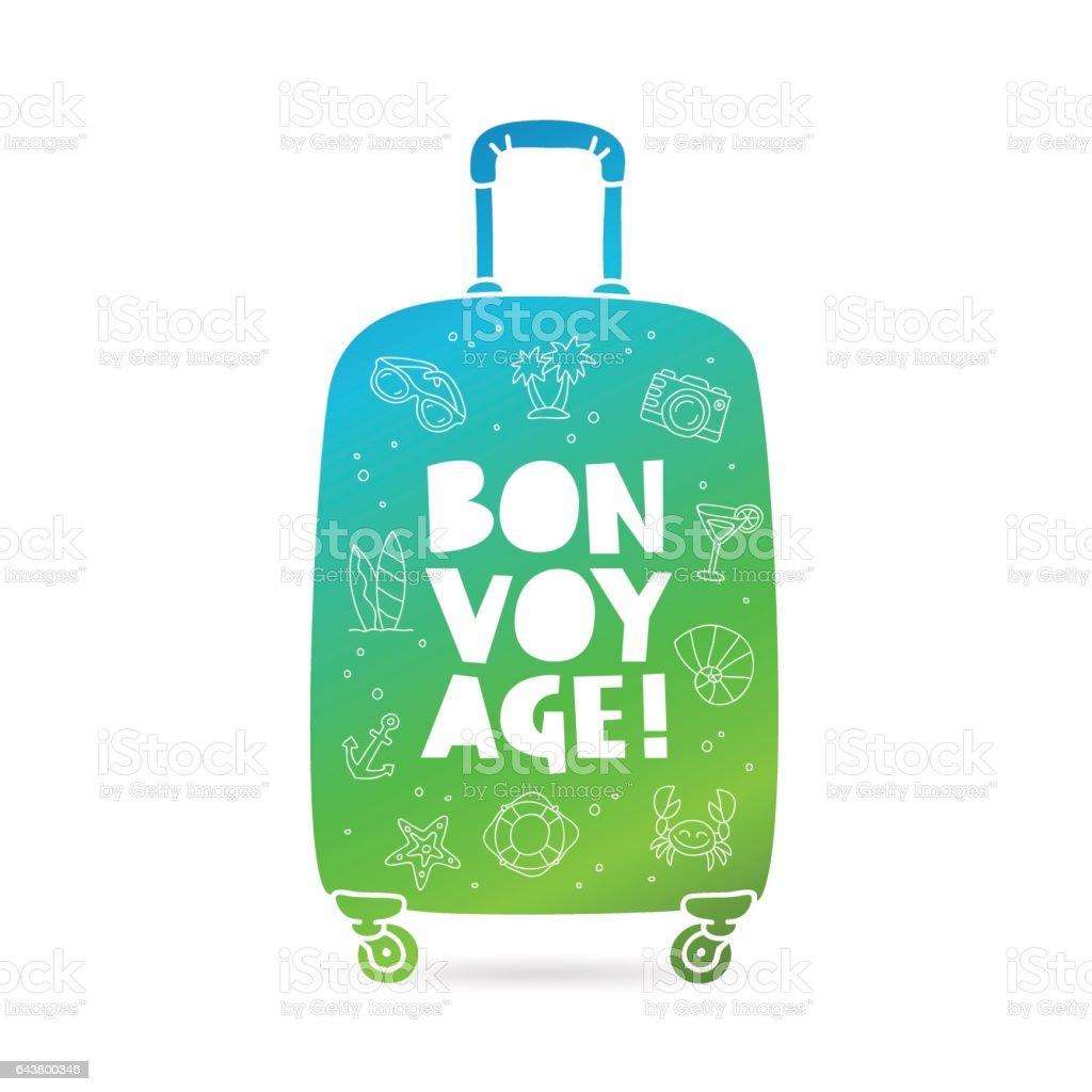 Big suitcase. Bon Voyage vector art illustration