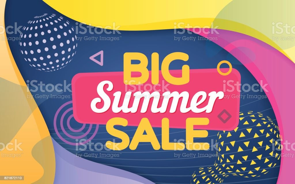 Big summer sale. A modern banner in the style of retro. Curved color lines. Special offer. Template for site and advertising. vector art illustration