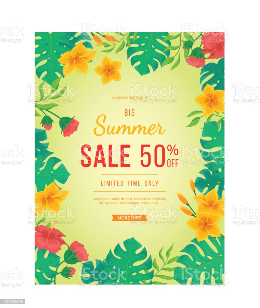 Big summer sale banner flowers and buds of hibiscus leaves monstera big summer sale banner flowers and buds of hibiscus leaves monstera and palm izmirmasajfo