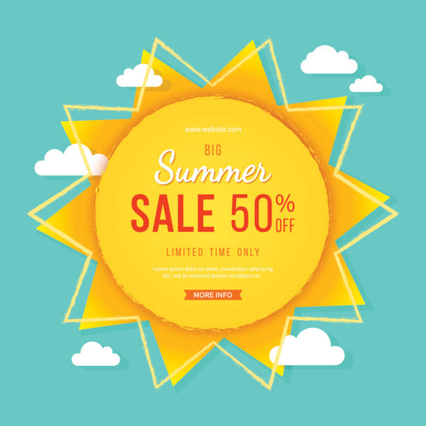 Big summer sale banner. Sun with rays, clouds and sign. Summer template poster design for print or web. Big summer sale banner. Sun with rays, clouds and sign. Summer template poster design for print or web. Vector discount background. summer stock illustrations