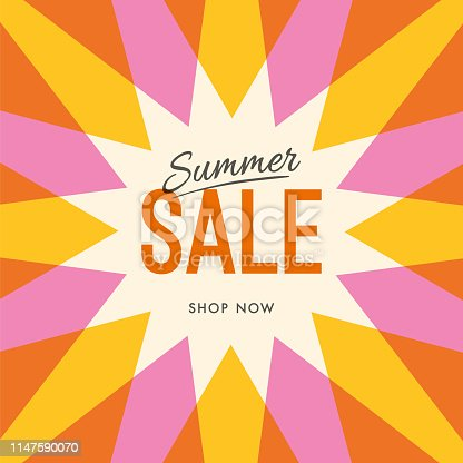 Big summer sale banner with sun. Sun with rays. Summer template poster design for print or web. - Illustration