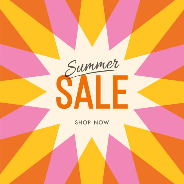 illustrazioni stock, clip art, cartoni animati e icone di tendenza di big summer sale banner with sun. sun with rays. summer template poster design for print or web. - sales