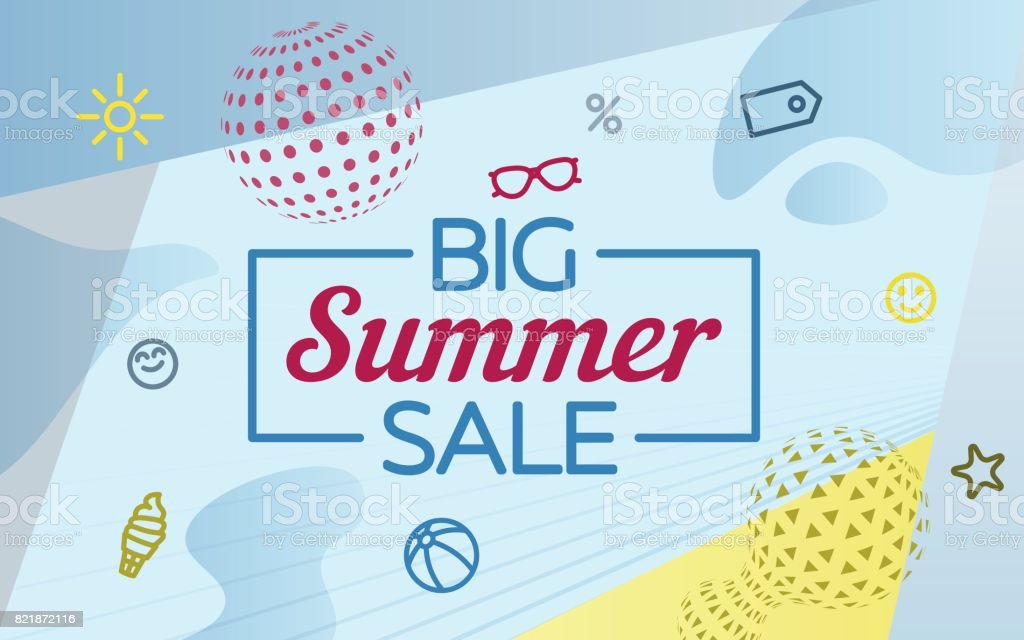 Big summer sale. Modern banner in the retro style. Special offer. A ball and a metabol ball from the circles. vector art illustration