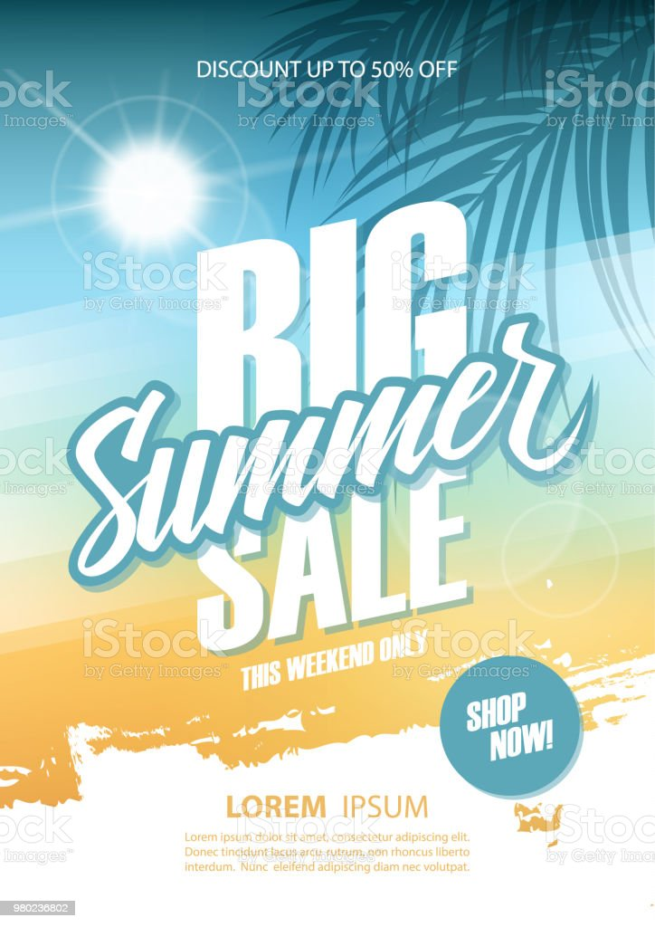 Big Summer Sale poster. This weekend only special offer commercial sign with hand lettering and palm leaves. Discount up to 50% off. Shop now! royalty-free big summer sale poster this weekend only special offer commercial sign with hand lettering and palm leaves discount up to 50 off shop now stock illustration - download image now