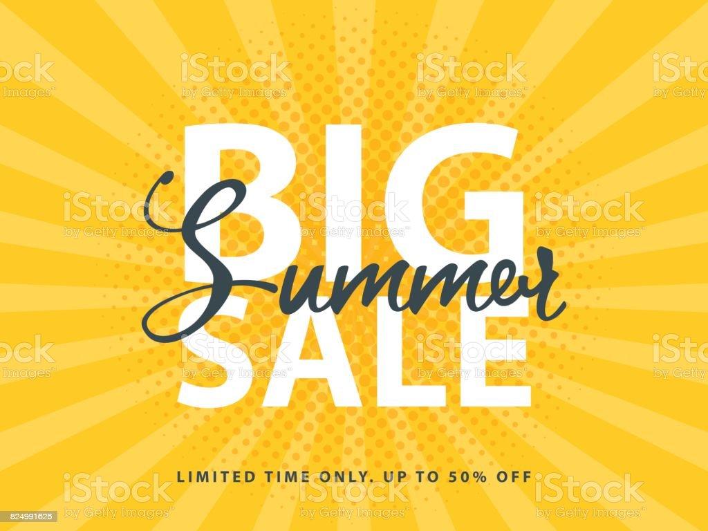 Big Summer Sale sign with retro pop art halftone background. Vector web banner template illustration vector art illustration