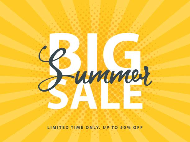 big summer sale sign with retro pop art halftone background. vector web banner template illustration - sales stock illustrations