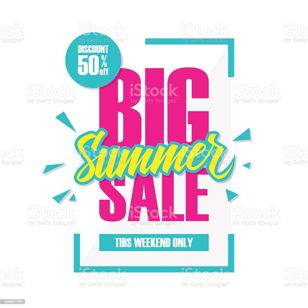 Big Sales This Weekend: Big Summer Sale This Weekend Special Offer Banner Stock