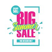 Big Summer Sale. This weekend special offer banner.