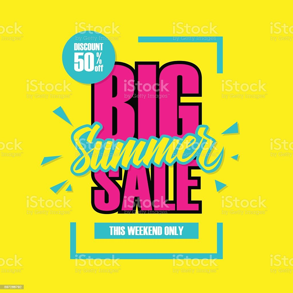 Big Summer Sale. This weekend special offer banner. vector art illustration