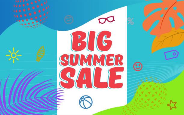 Big Summer Sale Vector Illustration. Web banner template. vector art illustration