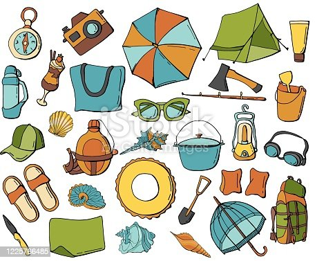 Big summer set on  white isolated background. Camping elements and beach accessories. Cartoon style. Stock illustration.