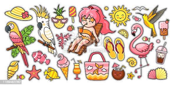 Vector cartoon illustrations for sticker kit, pins, print, poster.