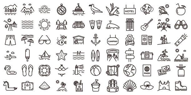 大型暑期度假圖示集。向量薄線插圖與物件, 活動和地方有關旅遊, 旅遊, 戶外在海灘和山區, 露營, 度假勝地和酒店。 - 休閒活動 主題 幅插畫檔、美工圖案、卡通及圖標