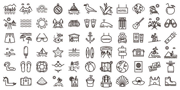 ilustrações de stock, clip art, desenhos animados e ícones de big summer vacations icon set. vector thin line illustrations with objects, activities and places related with traveling, tourism, outdoors in the beach and mountain, camping, resorts and hotels. - passatempo