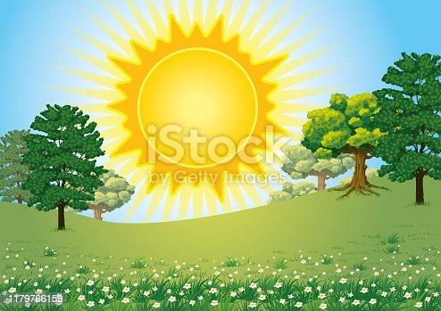 istock Big Sun Over a Landspace Green Nature 1179766159