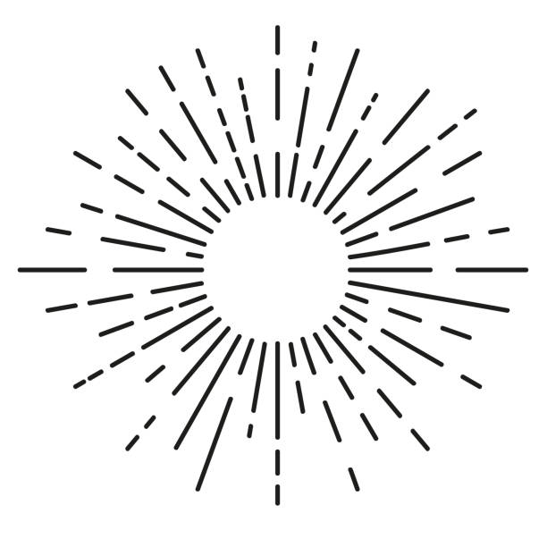 big sunburst, rounded corner - promień słońca stock illustrations