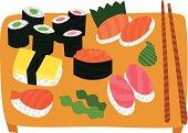 Big Sushi and Sashimi Set on Wooden Tray