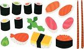 Big Sushi and Sashimi Set with Chopsticks