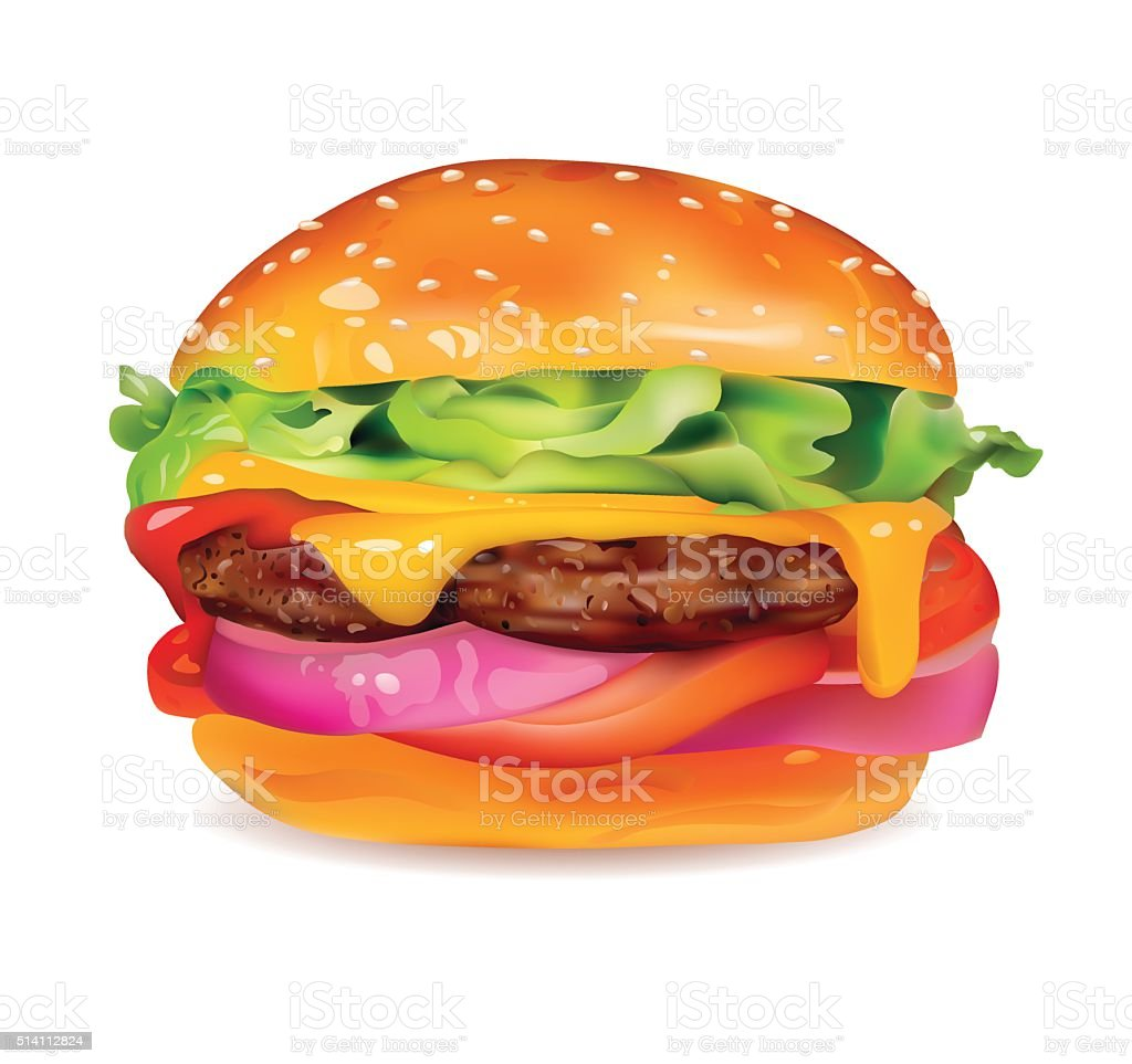 Big Tasty Burger with Meat, Cheese, Onion ,Tomatoes and Lettuce vector art illustration